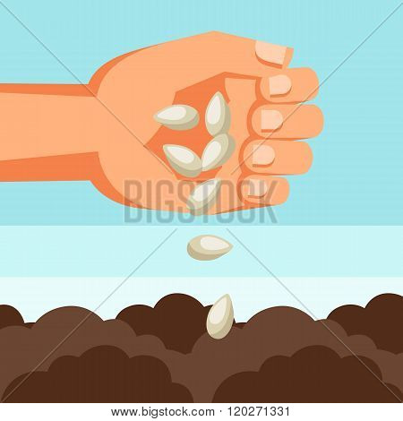 Illustration of human hand sows seeds into soil