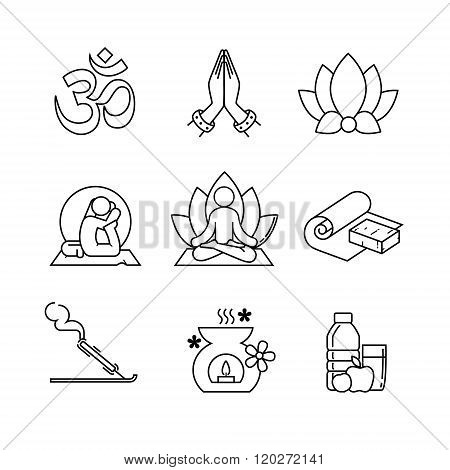 Yoga thin line art icons set