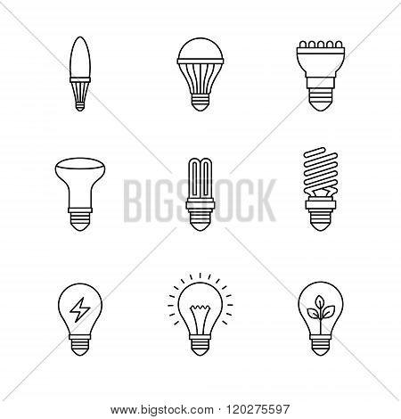 Light bulb icons thin line art set