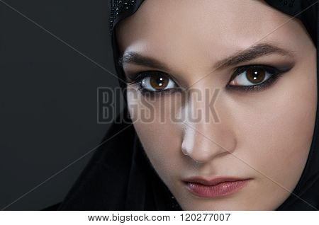 Arabian Woman With Black Vell On Black Background