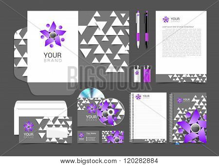 set of corporate identity elements gray and purple with people logo for your business