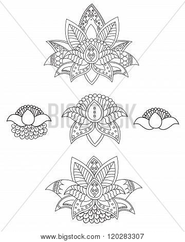 Beautiful Lotus: Ornament Vector Yoga. Hand Drawn Element. Picture For Design.