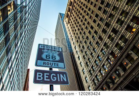 Chicago, U.S.A. - May 17, 2011: Illinois, Adam street, the road sign of the Route 66 starting point.