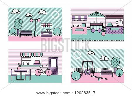 Stylized modern minimalistic vector city places illustrations. Park, playground, farmers market, str
