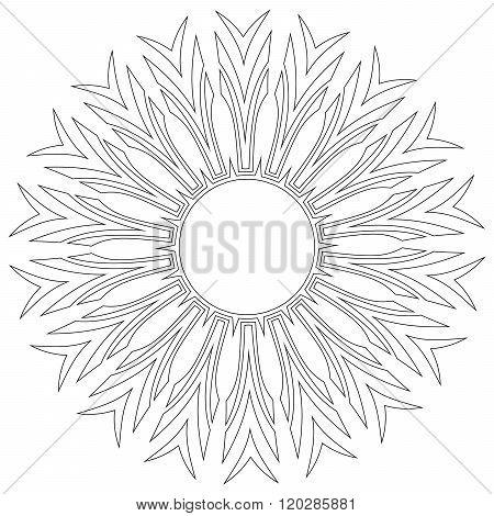 Black symmetric mandala like a adult coloring page