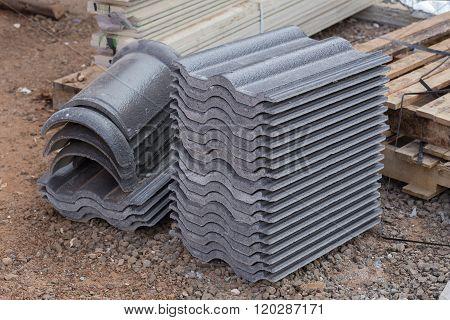 Concrete Roof Tile (gray Color) At Construction Site