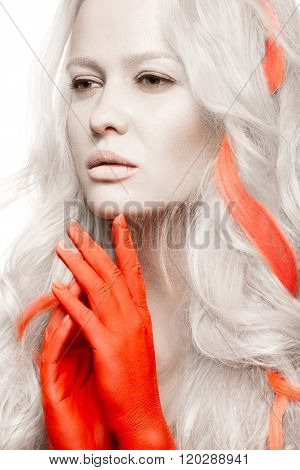 Art fashion girl with white skin in form of albinos, red arms and lock hair. Creative beauty image .