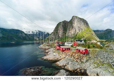 Norway village Reine near the scenic mountains