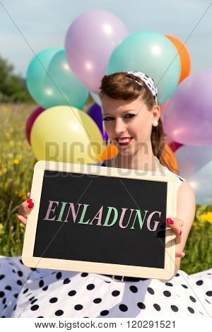 Rockabilly Girl Holding A Board With Word Invitation, Concept Party