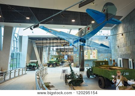 Soviet russian Yakovlev Yak-9 fighter aircraft and ZIS-5 Soviet