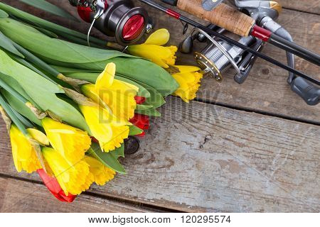 Fishing Tackles With Bouquet Spring Flowers
