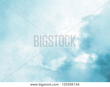 Blurred sky background in soft blue watercolor