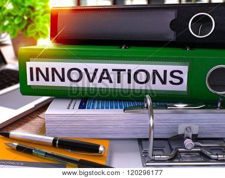 Innovations on Green Office Folder. Toned Image.