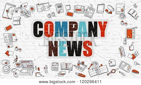Company News Concept with Doodle Design Icons.