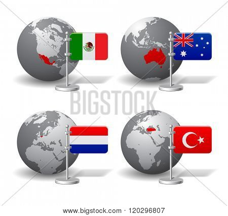 Gray Earth globes with designation of Mexico, Australia, Netherlands and Turkey location, with state flags. Vector illustration