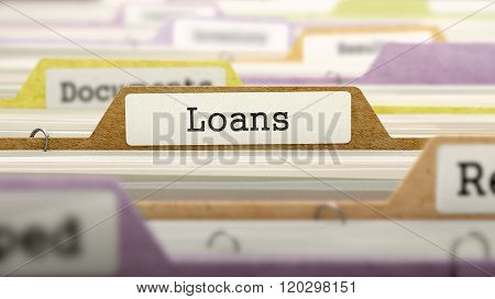 Loans Concept on File Label.