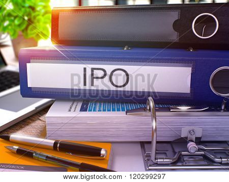 Blue Office Folder with Inscription IPO.