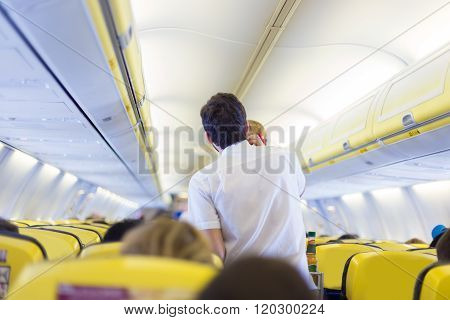Steward on the airplane.