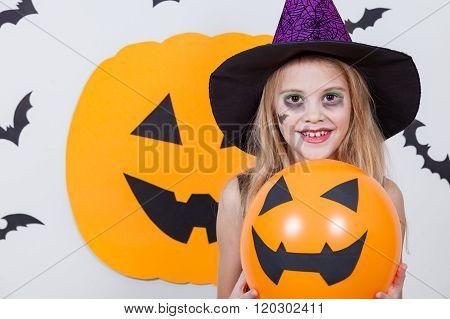 Happy  Girl On Halloween Party