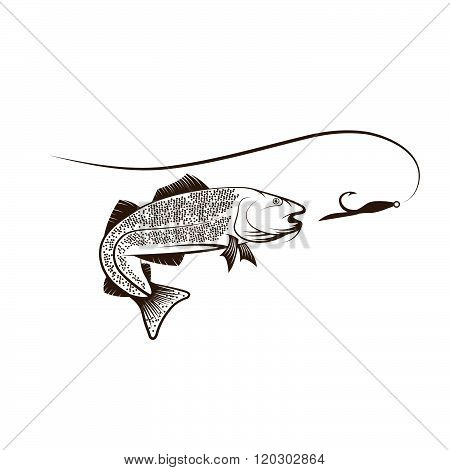 Cod Fish And Lure . Concept Of Graphic Clipart Work
