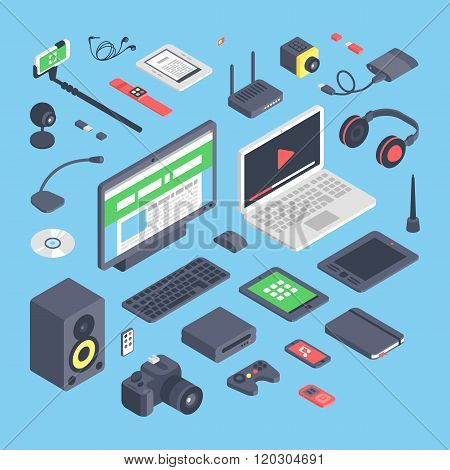 Vector set of isometric computer devices icons.