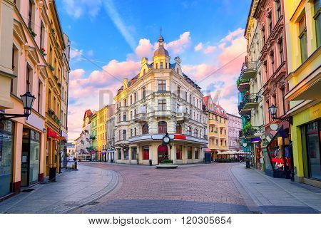 Central Pedestrian Street In Torun, Poland