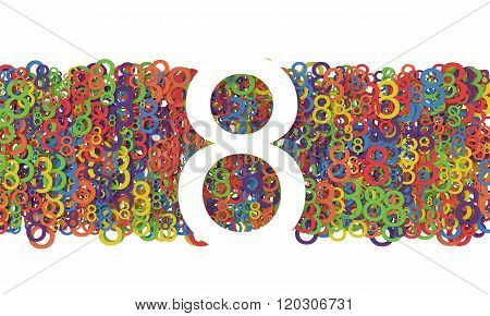8 March Women's Day. Colorful numbers background.
