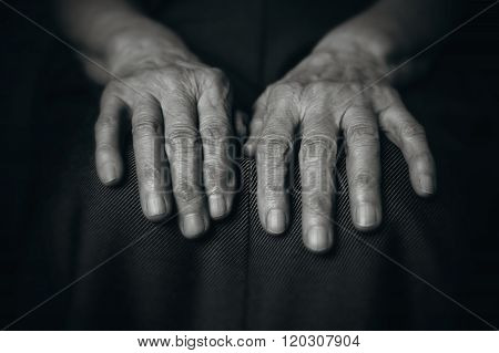 Two Hands Wrinkled Old Man