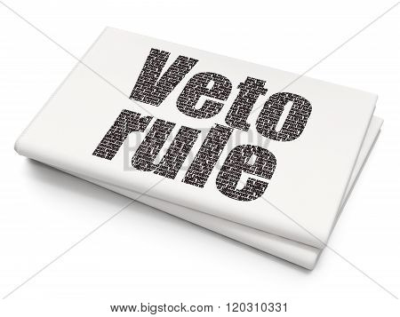 Political concept: Veto Rule on Blank Newspaper background