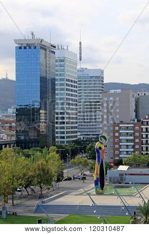 Barcelona, Catalonia, Spain - August 28, 2012: Joan Miro Park In Barcelona