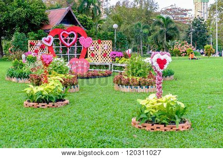 Bangkok Thailand - February 11 2016: Outdor with decorated with Valentines Day at Lumpini park.