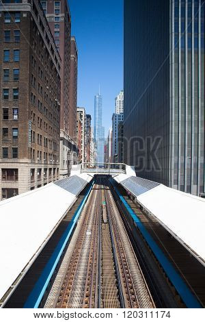 Famous elevated overhead commuter train Chicago USA