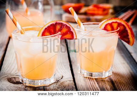 Nonalcoholic Blood Orange Cocktail In Glass