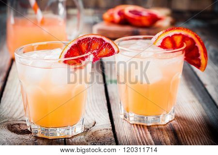 Non-alcoholic Blood Orange Cocktail In Glass