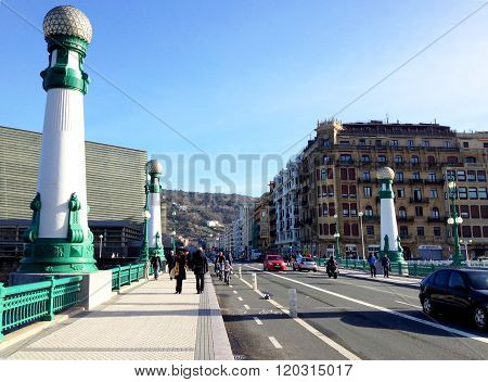 Kursaal Bridge in San Sebastian, Spain
