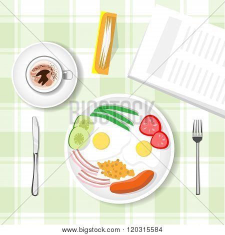 Breakfast Table, Porridge, Sausage, Cup Mug With Yea Coffee Top View