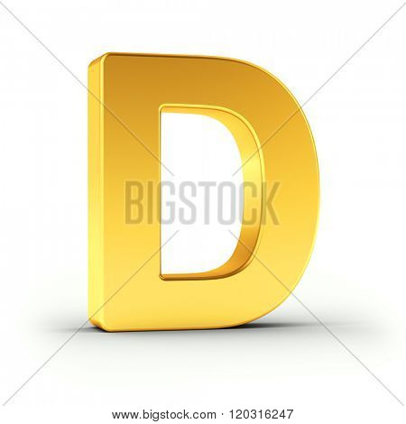 The Letter D as a polished golden object over white background with clipping path for quick and accurate isolation.
