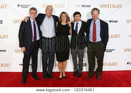 NEW YORK-OCT 27: (L-R) Walter V. Robinson, Martin Baron, Sacha Pfeiffer, Michael Rezendes, & Ben Bradlee, Jr. at 'Spotlight' New York premiere at Ziegfeld Theatre on October 27, 2015 in New York City.