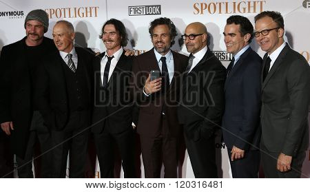 NEW YORK-OCT 27:(L-R) Liev Schreiber, Michael Keaton, Billy Crudup, Mark Ruffalo, Stanley Tucci, Brian d'Arcy James &Tom McCarthy at 'Spotlight'  premiere at Ziegfeld Theatre on October 27, 2015.