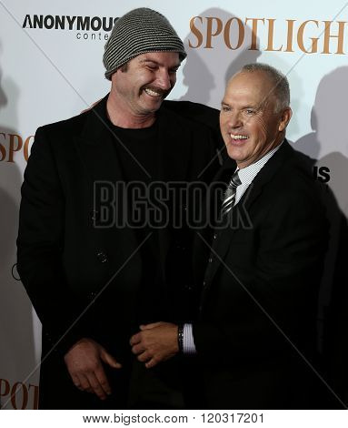 NEW YORK-OCT 27: Actors Liev Schreiber and Michael Keaton attend the 'Spotlight' New York premiere at Ziegfeld Theatre on October 27, 2015 in New York City.
