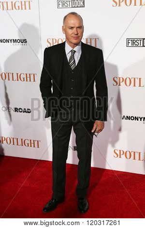 NEW YORK-OCT 27: Actor Michael Keaton attends the 'Spotlight' New York premiere at Ziegfeld Theatre on October 27, 2015 in New York City.