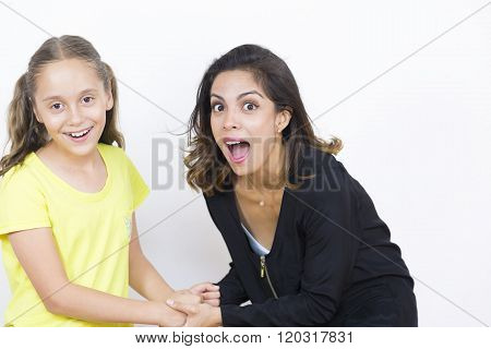 Surprised Woman And Girl