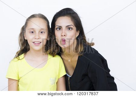 Pretty Woman And Girl With Weird Expression