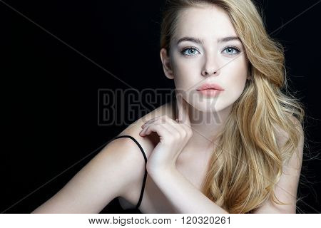 Beautiful Sensual Blonde Girl On Dark Background.