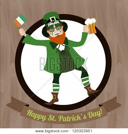 Green Leprechaun with beer and  Irish flag celebrating Saint Patricks Day