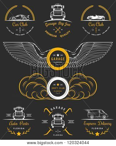 Set of vintage car club drift club auto parts and garage labels badges and design elements. Badges trucks vintage cars and sports cars.