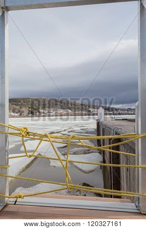 Yellow Rope Barrier In Gaspe