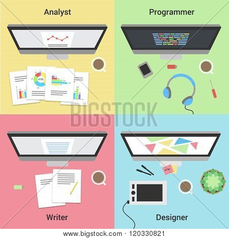Freelance infographic. Working with laptop. Web developer, graphic designer, analyst and writer.