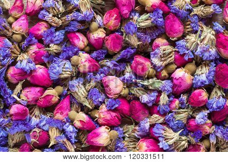 Dry Rose Buds And Forget Me Not Flowers, Healthy Herbal Tea Background.