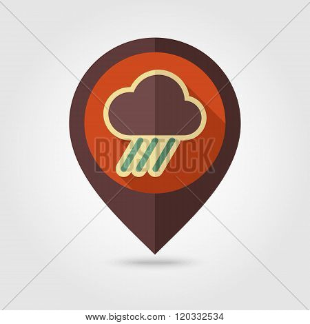 Rain Cloud Flat Pin Map Icon. Downpour, Rainfall